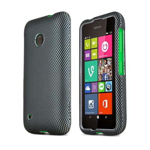 Gray Carbon Fiber Design Nokia Lumia 530 Matte Rubberized Hard Case Cover