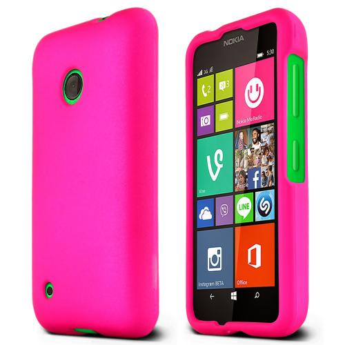 Nokia Lumia 530 Protective Rubberized Hard Case - Anti-Slip Matte Rubber Material [Slim and Perfect Fitting Nokia Lumia 530 Case] [Hot Pink]