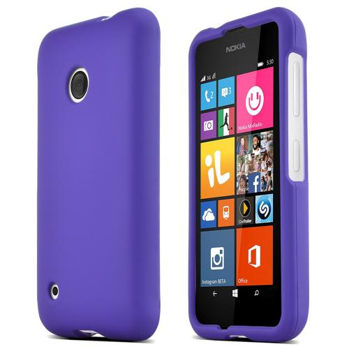 Nokia Lumia 530 Protective Rubberized Hard Case - Anti-Slip Matte Rubber Material [Slim and Perfect Fitting Nokia Lumia 530 Case] [Purple]