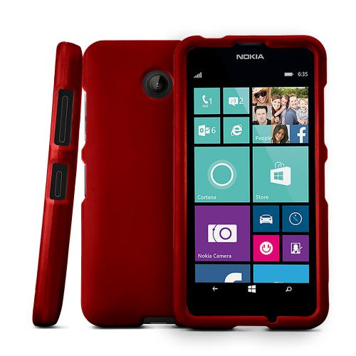 Red Nokia Lumia 635 Matte Rubberized Hard Case Cover; Perfect fit as Best Coolest Design Plastic cases