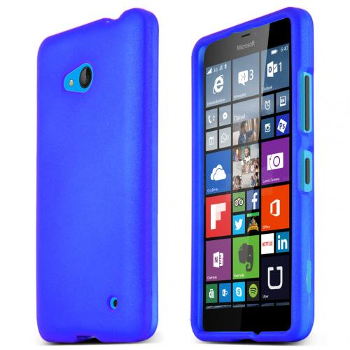 Blue Slim Grip Rubberized Matte Snap-on Hard Polycarbonate Plastic Protective Case for Nokia Lumia 640
