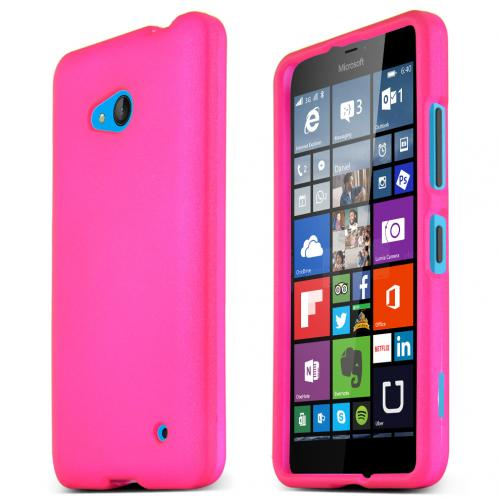 Hot Pink Slim Grip Rubberized Matte Snap-on Hard Polycarbonate Plastic Protective Case for Nokia Lumia 640