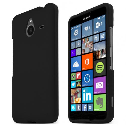 Nokia Lumia 640 XL Case, BLACK Slim & Protective Rubberized Matte Hard Plastic Case