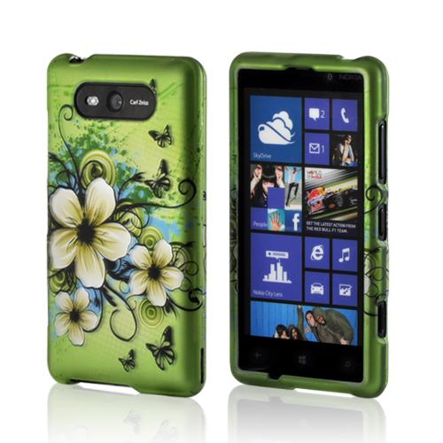 White Hawaiian Flowers on Green Rubberized Hard Case for Nokia Lumia 820