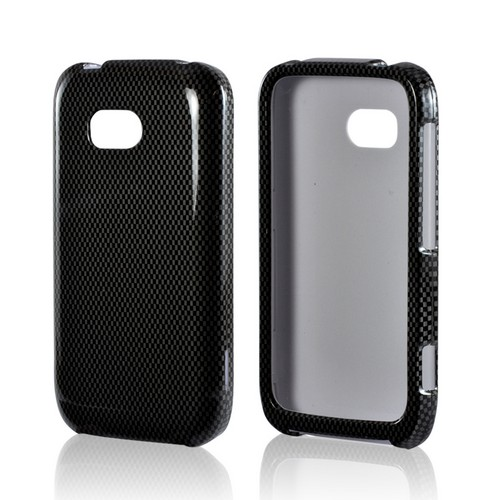Black/ Gray Carbon Fiber Design Rubberized Hard Case for Nokia Lumia 822