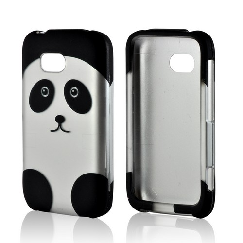 Black/ Silver Panda Rubberized Hard Case for Nokia Lumia 822