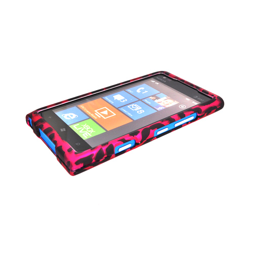 Nokia Lumia 900 Rubberized Hard Case - Hot Pink/ Black Leopard