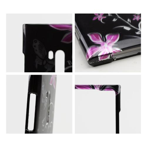 Silver Butterflies & Pink Flowers on Black Hard Case for Nokia Lumia 900