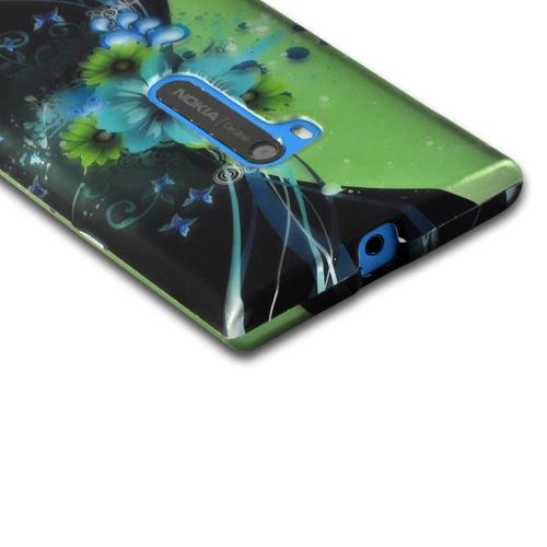 Turquoise/ Green Sublime Flowers on Black Rubberized Hard Case for Nokia Lumia 920