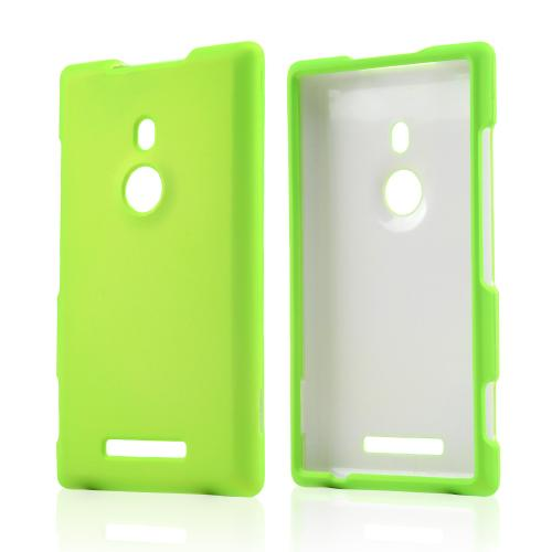 Neon Green Rubberized Hard Case for Nokia Lumia 925