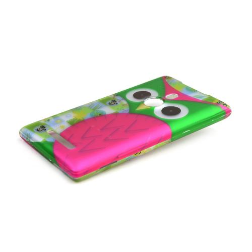 Hot Pink/ Green Owl Rubberized Hard Case for Nokia Lumia 925