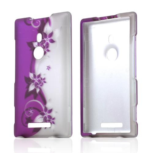 Purple Vines & Flowers on Silver Rubberized Hard Case for Nokia Lumia 925