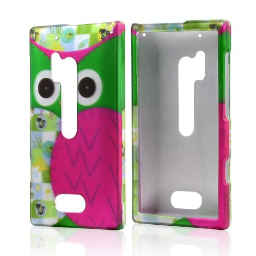 Hot Pink/ Green Owl Rubberized Hard Case for Nokia Lumia 928