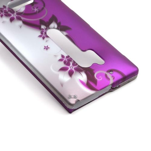 Black Vines on Purple/Silver Rubberized Hard Case for Nokia Lumia 928