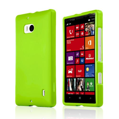 Neon Green Rubberized Hard Plastic Case for Nokia Lumia Icon
