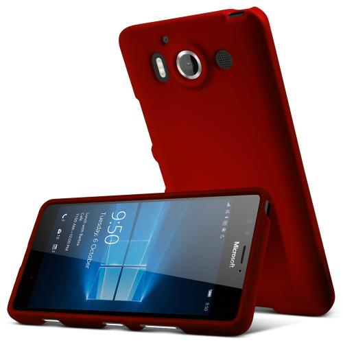 Microsoft Lumia 950 Case, [Red] Slim & Protective Rubberized Matte Hard Plastic Case