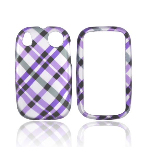 Palm Pre 2 Rubberized Hard Case - Checkered Design of Purple, Grey on Silver