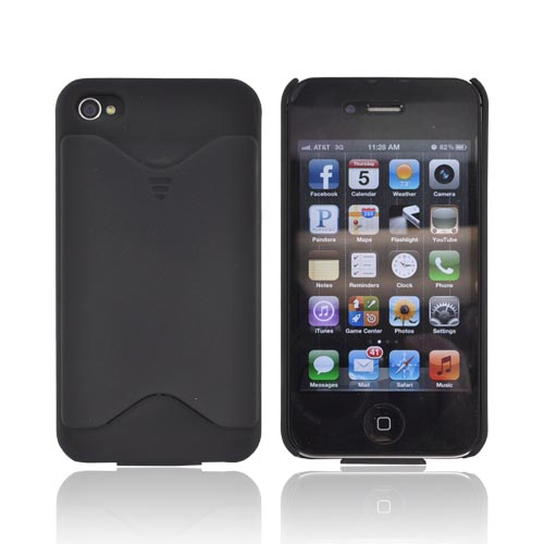 AT&T/ Verizon Apple iPhone 4, iPhone 4S Rubberized Back Cover w/ ID Slot - Black