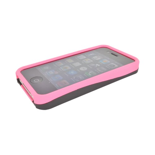 AT&T/ Verizon Apple iPhone 4, iPhone 4S Rubberized Hard Case - Blush Pink/ Black