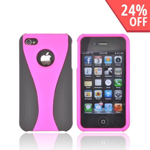AT&T/ Verizon Apple iPhone 4, iPhone 4S Rubberized Hard Case - Hot Pink/ Black