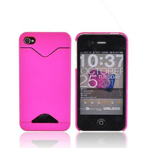 AT&T/ Verizon iPhone 4, iPhone 4S Rubberized Back Cover w/ ID Slot - Hot Pink