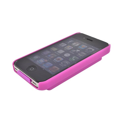 AT&T/ Verizon Apple iPhone 4, iPhone 4S Rubberized Back Cover w/ ID Slot - Magenta - XXIP4