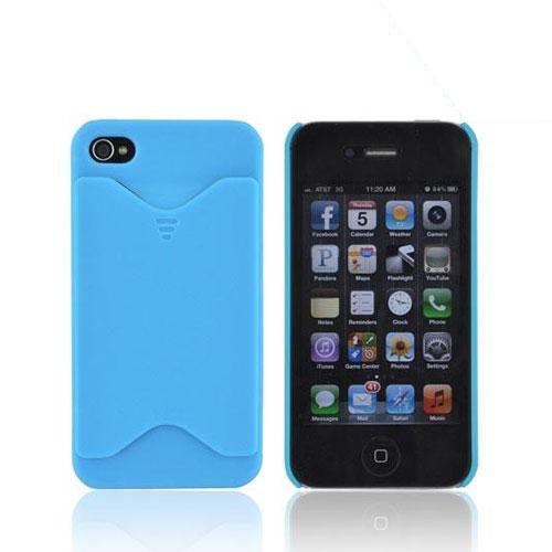 AT&T/ Verizon Apple iPhone 4, iPhone 4S Rubberized Back Cover w/ ID Slot - Sky Blue - XXIP4