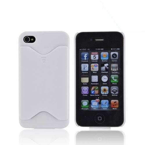 AT&T/ Verizon Apple iPhone 4, iPhone 4S Rubberized Back Cover w/ ID Slot - White