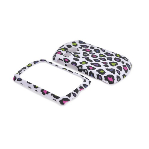 Pantech Swift Rubberized Hard Case - Rainbow Leopard on White