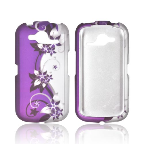 Pantech Burst 9070 Rubberized Hard Case - Purple Flowers/ Vines on Silver