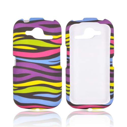Pantech Burst 9070 Rubberized Hard Case - Rainbow Zebra