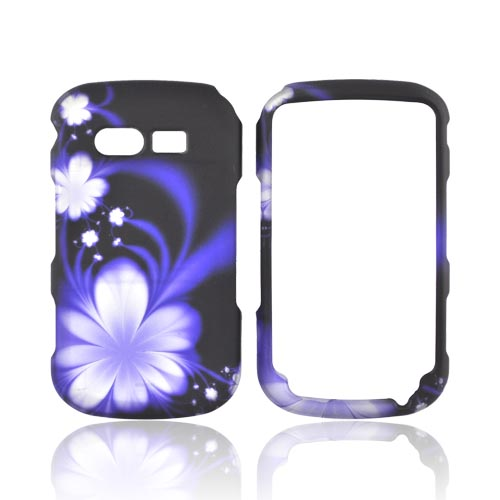 Pantech Caper Rubberized Hard Case - Purple Flowers on Black