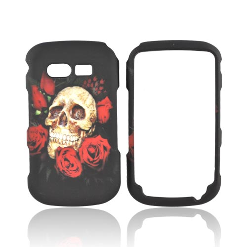 Pantech Caper Rubberized Hard Case - Skull & Roses on Black
