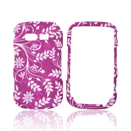 Pantech Caper Rubberized Hard Case - White Vines on Pink