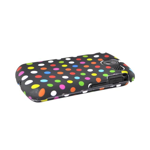 Pantech Crux 8999 Rubberized Hard Case - Colorful Polka Dots on Black
