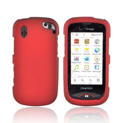 Pantech Hotshot Rubberized Hard Case - Red