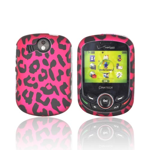 Pantech Jest 2 Rubberized Hard Case - Hot Pink/ Black Leopard