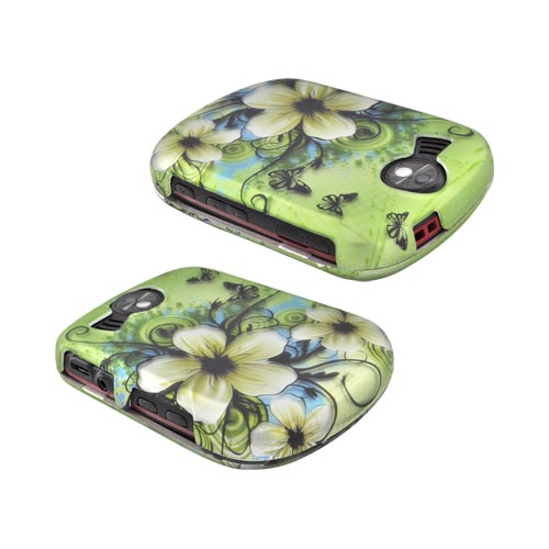 Pantech Jest 2 Rubberized Hard Case - White Hawaiian Flowers on Green