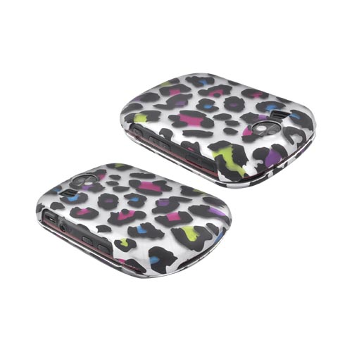 Pantech Jest 2 Rubberized Hard Case - Rainbow Leopard on Silver