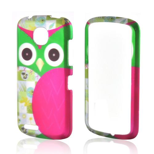 Hot Pink/ Green Owl Rubberized Hard Case for Pantech Marauder