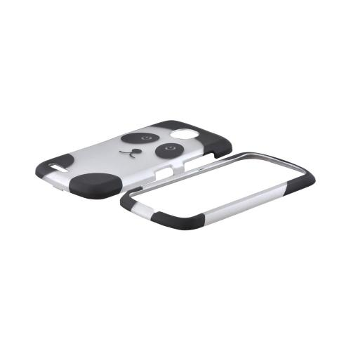 Pantech Marauder Rubberized Hard Case - Silver/ Black Panda