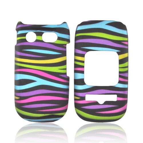 Pantech Breeze 3 Rubberized Hard Case - Rainbow Zebra on Black