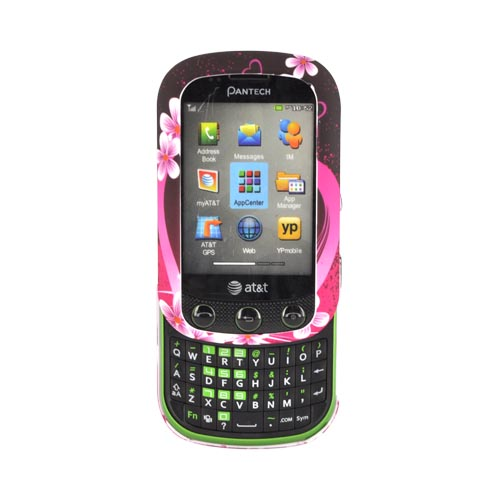 Pantech Pursuit 2 P6010 Rubberized Hard Case - Hot Pink/ Purple Flowers & Hearts