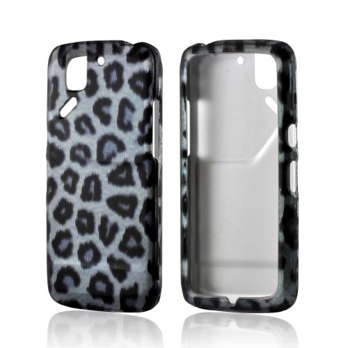 Blue/ Black Leopard Rubberized Hard Case for Pantech Flex