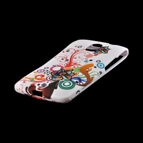 Autumn Floral Burst on White Rubberized Hard Case for Pantech Discover