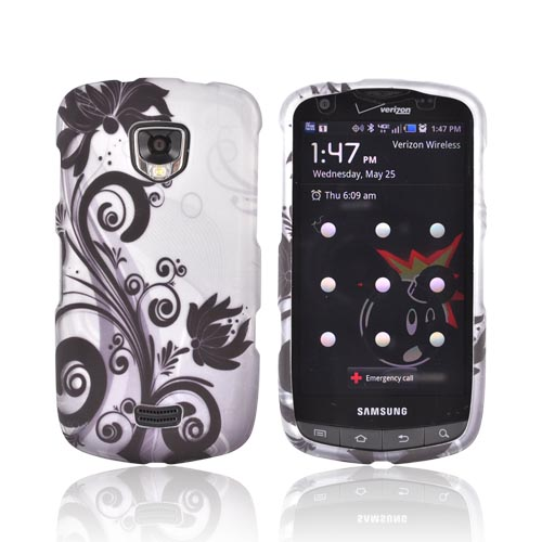 Samsung Droid Charge Rubberized Hard Case - Black Flowers & Vines on Gray