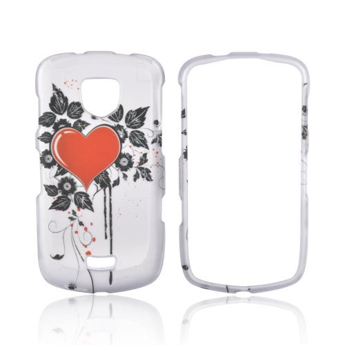 Samsung Droid Charge Rubberized Hard Case - Pink Heart on Silver