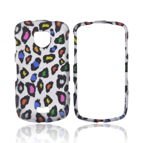 Samsung Droid Charge Rubberized Hard Case - Colorful Leopard on Silver