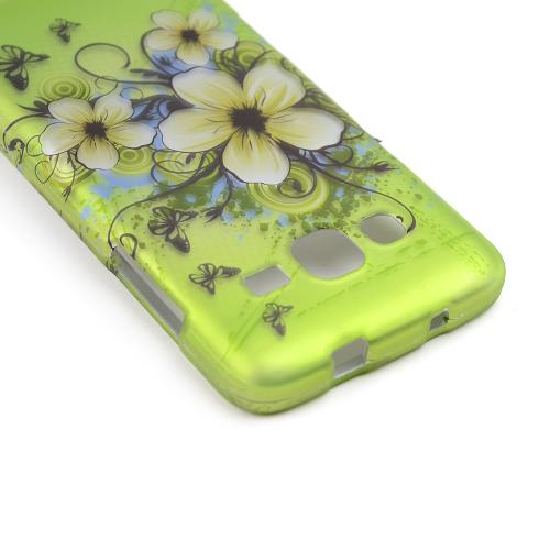 White Hawaiian Flowers on Green Rubberized Hard Case for Samsung ATIV S Neo