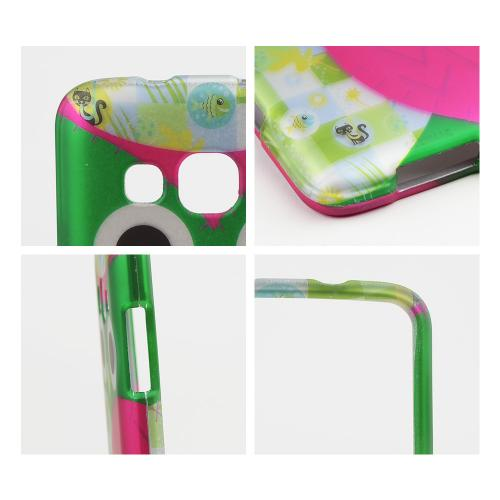 Hot Pink/ Green Owl Rubberized Hard Case for Samsung ATIV S Neo